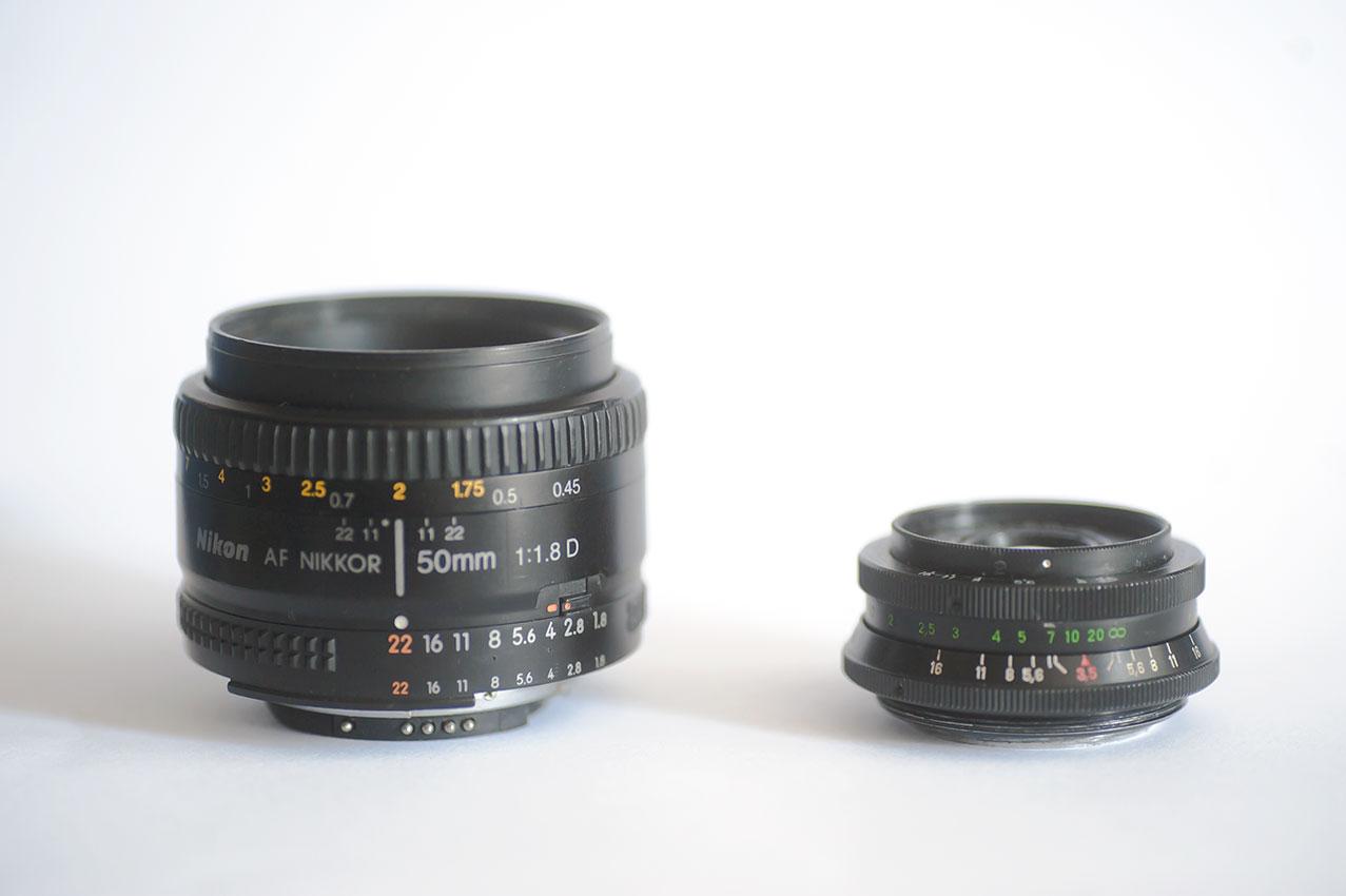 Industar 50 - Nikon 50 - porównanie wielkości